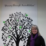 Accreditation tree and Elaine Capes