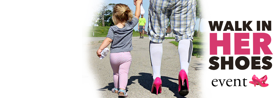 Little girl with father in pink heels