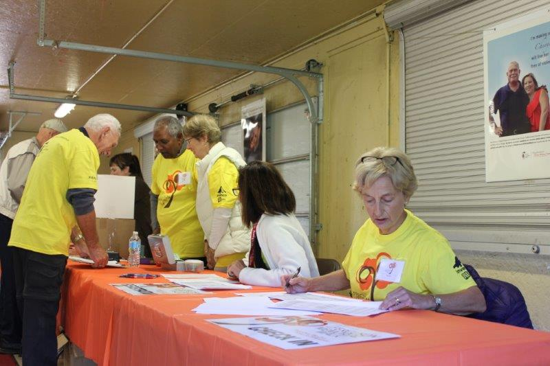 Photo of the registration table at the 2016 Ferguson Memorial Walk