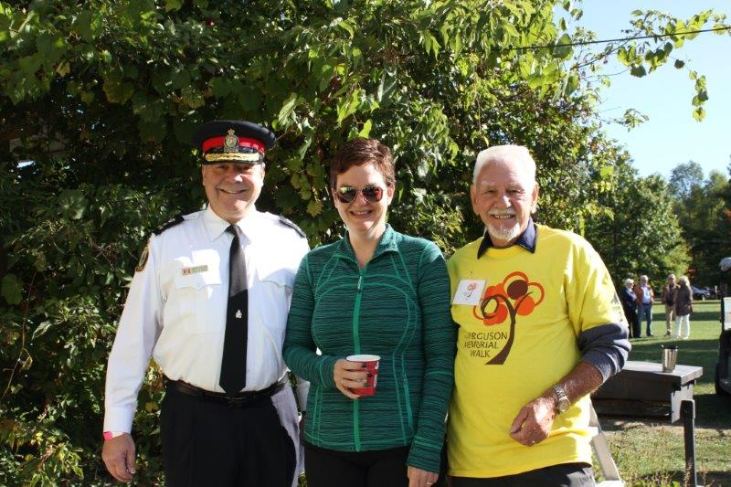 Photo of Police Chief Wayne Kalinski, Lisa Post and Gus Bogner at 2016 Ferguson Memorial Walk