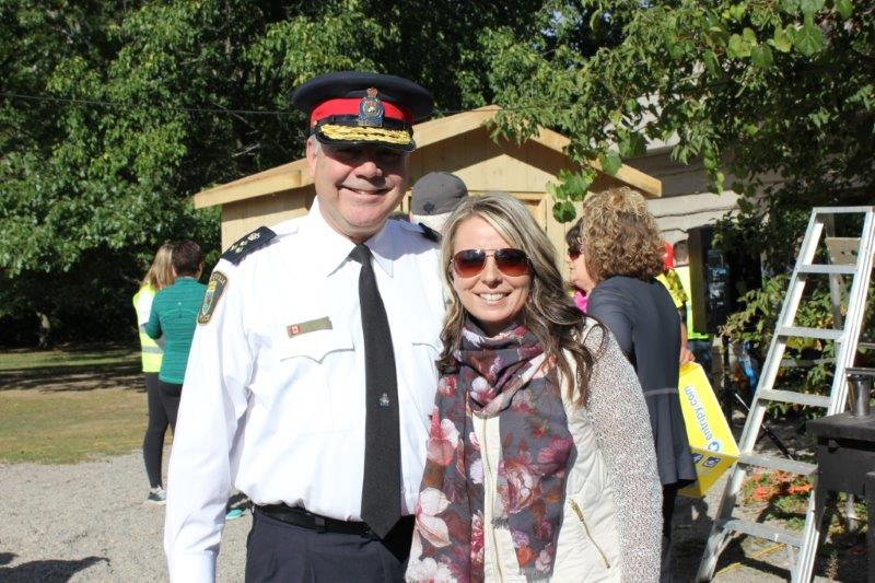 Photo of Police Chief Wayne Kalinski and Stacey Tarrant at 2016 Ferguson Memorial Walk