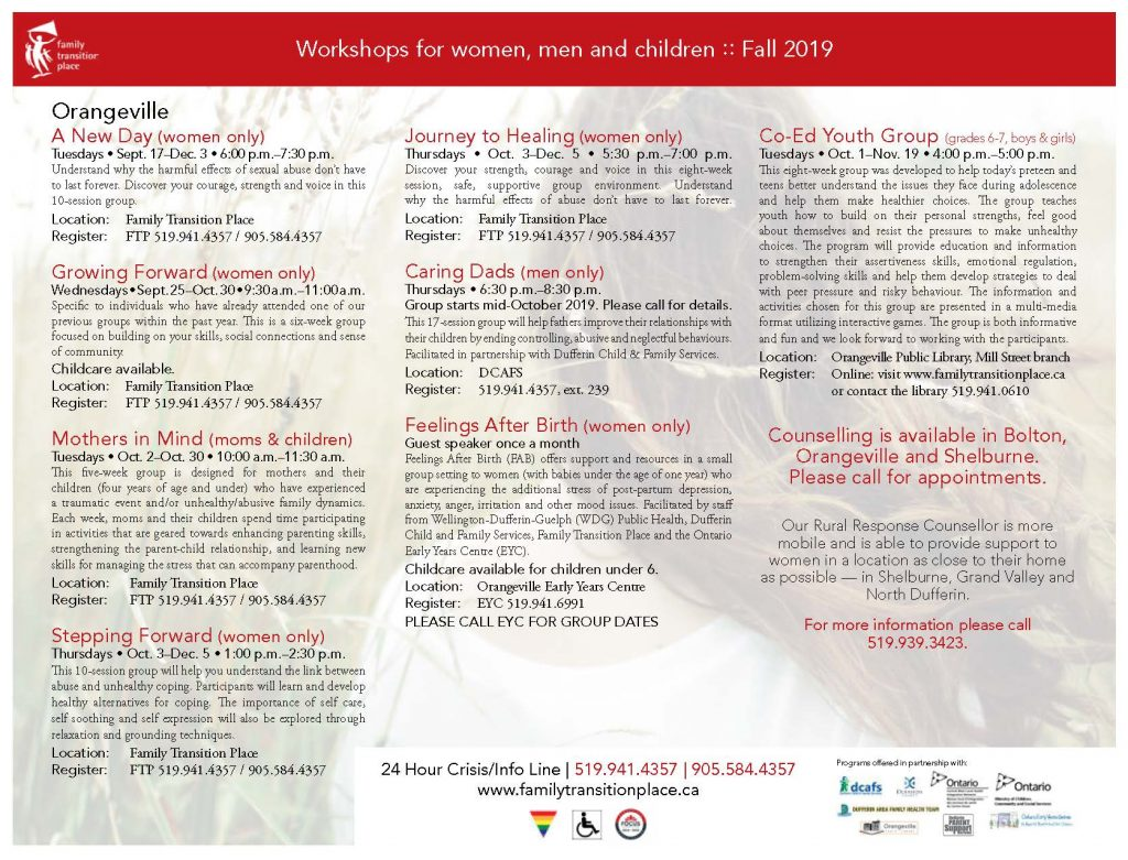 2019 Fall Workshop Flyer