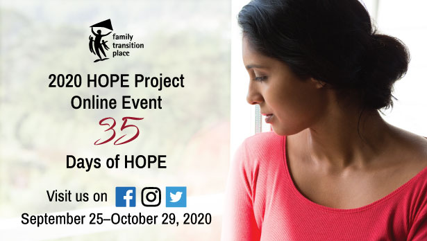 Click here for information on our 2020 HOPE Project Event: 35 Days of HOPE